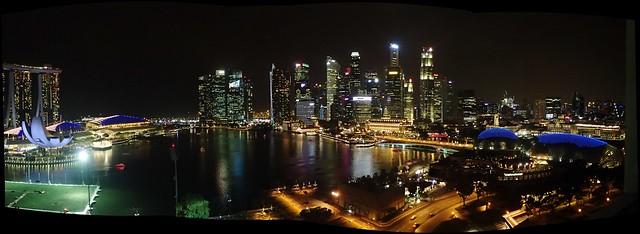 Singapore- Marina Bay Panorama at Night