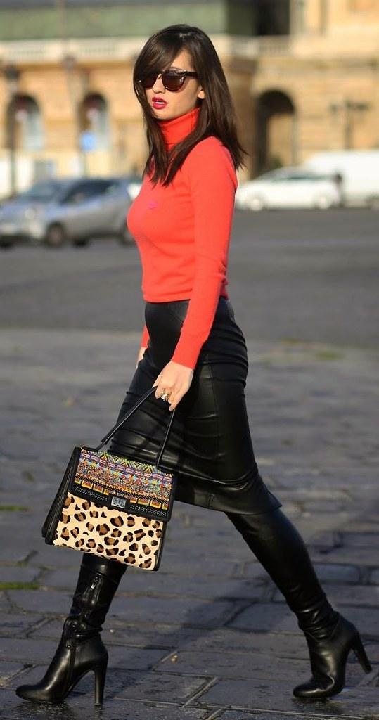18832f572 ... Women's Cardinal Red Knit Turtleneck Sweater x MANOUSH; Black Leather Pencil  Skirt x ZARA;