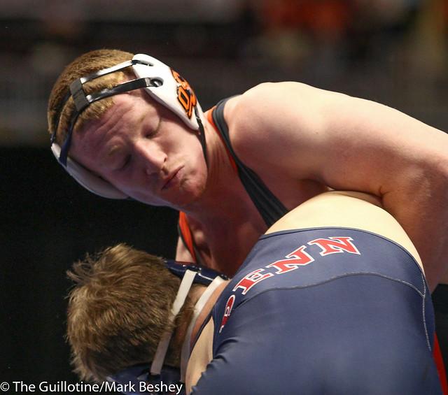 184 Cons. Round 1 - Joe Heyob (Pennsylvania) 24-11 won by fall over Keegan Moore (Oklahoma State) 18-10 (Fall 3:32) - 180315bmk0096