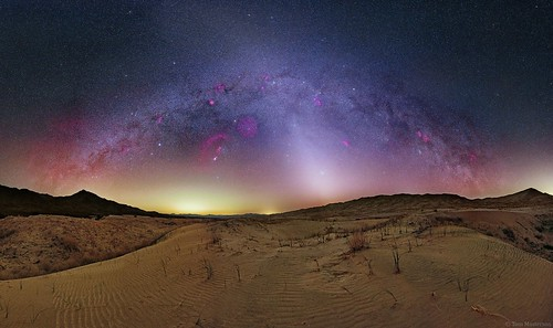 Zodiacal Light Pierces the Winter Milky Way at Kelso Dunes