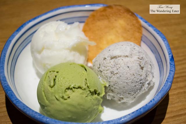 Ice cream - Matcha green tea, Black sesame, lychee