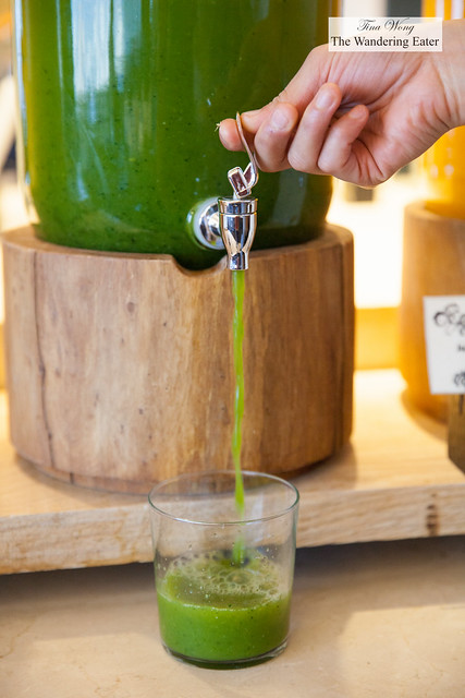 Green juice of the day - the hotel chnages up the different fruits to make the fresh juices