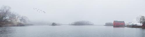 rye fog harbor barn pano scenic fuji landscape seascape