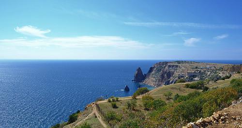 crimea sevastopol fiolent cape rocks mediterranean seascape island cirrus horizon