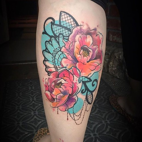 Peony and lace watercolor tattoo