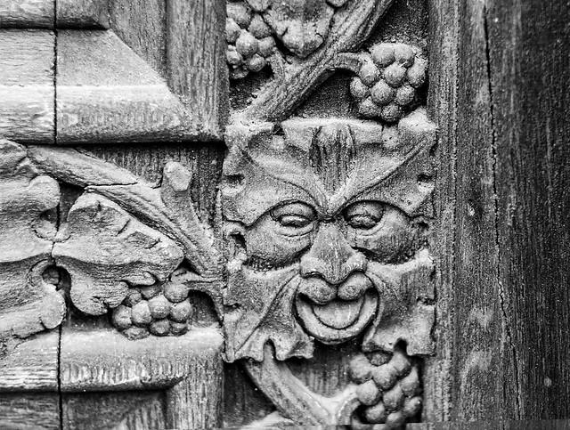 Pagan Green Man Carving on Cathedral Door,