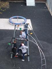 Kids on climbing frame