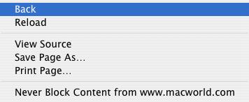 Safari Back menu item