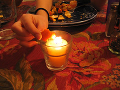 burning orange peels