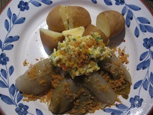 Chicory polonaise and new potatoes