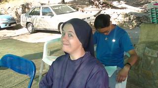 Hermana Clare durante un campamento en España