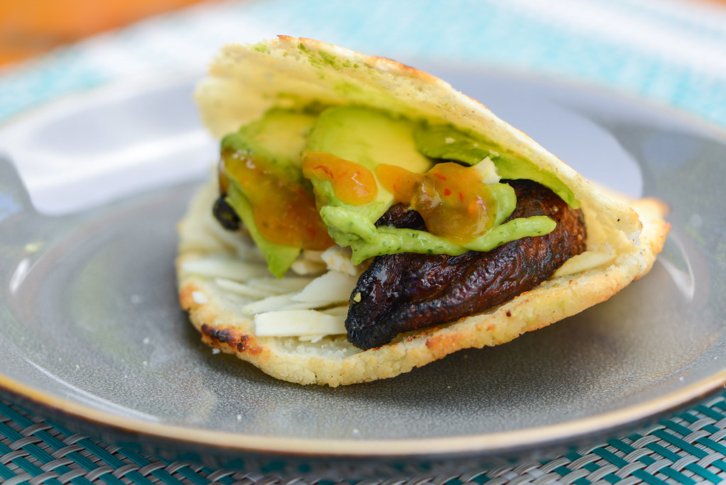 Venezuelan Arepas with Sweet Plantains, Avocado, and Queso Blanco