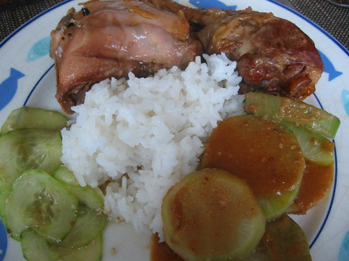 Chicken in sake/mirin sauce, braised daikon and rice