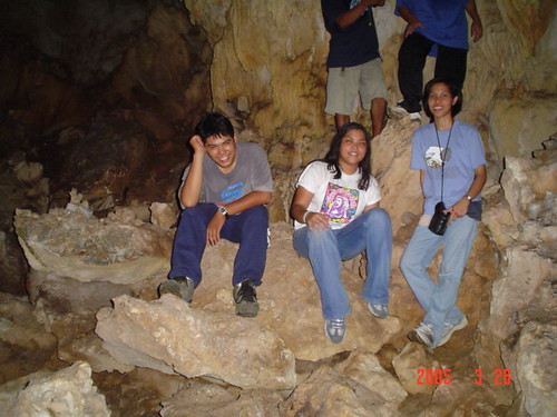 Gim inside a cave with ARC staff Lot and Liezl