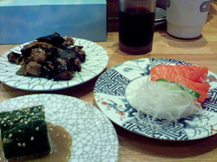 Kulu Kulu - spinach in peanut sauce, eggplant miso, salmon sashimi