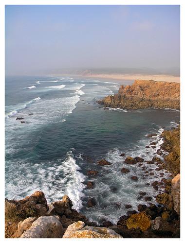 ocean sunset sea beach portugal coast rocks waves cliffs shore küste carrapateira ilustrarportugal