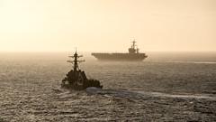 USS Wayne E. Meyer (DDG 108) and USS Carl Vinson (CVN 70) transit the Pacific, April 10. (U.S. Navy/MC2 Sean M. Castellano)