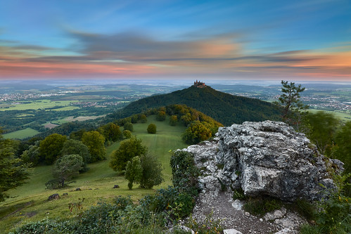 nature castle rock mountain hill meadow trees whataview perspective earlymorning sky clouds motion goldenhour sunrise longexposure neutraldensityfilter nd breakthroughphotography x4nd10 x4nd3 tiffen gradnd manfrotto redged canon 7dmarkii efs1018mm germany burghohenzollern hohenzollerncastle zellerhorn hechingen firstsunlight dawn landscape landscapephotography explore