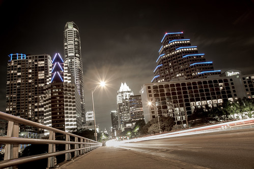austin texas longexposure citylights skyscrapers architecture night bridge