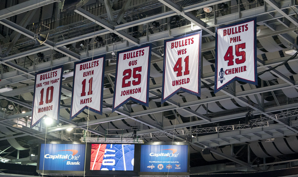 san francisco 15b2f 78fac Washington Wizards Retired Jersey Numbers | Knicks at Wizard ...