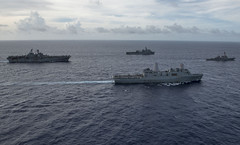 Ships of the Bonhomme Richard Expeditionary Strike Group steam in formation during exercise Valiant Shield in September. (U.S. Navy/PO2 Kyle Carlstrom)