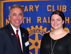 Pres. Scott Tarkenton welcomed Ms. Tiffany Snider to the club. Tiffany was invited as a prospective member by our own Matt Towler. Tiffany is employed by Wake County's Library Department.