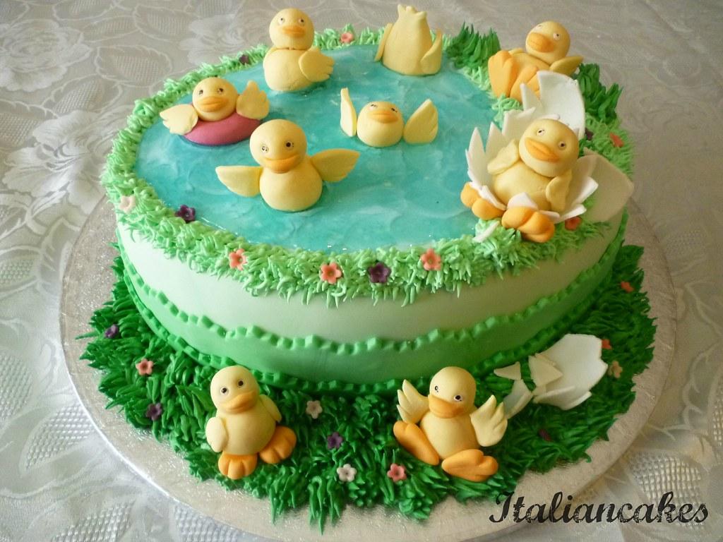Paperelle e stagno | Torta di compleanno decorata con pasta