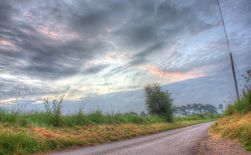 county uk england clouds sunrise canon skies hedge hdr countryroad 550d walkern