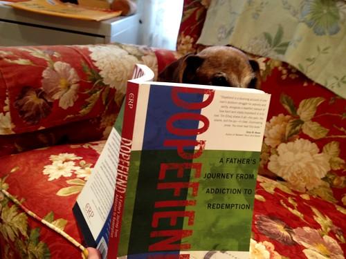 Scarlet the Wiener Dog reading Dopefiend | by xtinehlee
