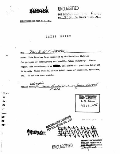 Ernest Tittertons questionnaire form June 25 1945