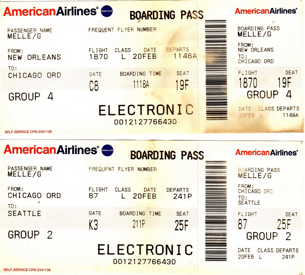 Aa 2004 02 20 American Airlines Boarding Passes Airline