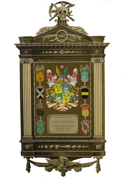 Rouwbord van Joan Gideon Loten, zoals dat in de Jacobikerk gehangen heeft.
