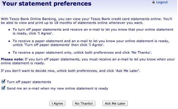 Tesco Bank Clarity | I was confronted by this alert when I l