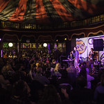 Unbound - Tongue Fu   Late night fun in the Spiegeltent with this riotous experiment in live literature, music and improvisation © Robin Mair