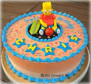 Brilliant Bart Simpson Birthday Cake Made This For A 10Th Birthday Flickr Personalised Birthday Cards Veneteletsinfo