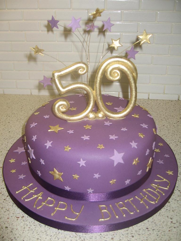 Purple Star 50th Birthday Cake