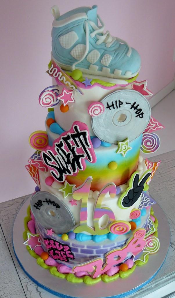 Excellent Sweet 16 Sweet 16 Hip Hop Themed Birthday Cake Karen Hedge Funny Birthday Cards Online Inifodamsfinfo