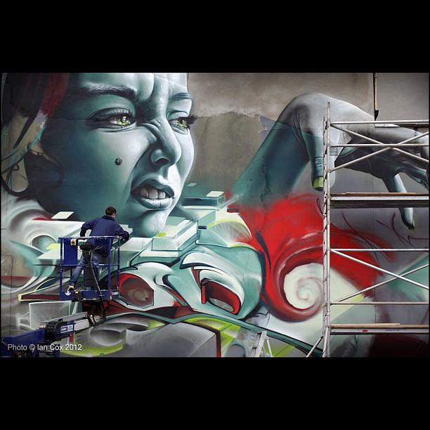 Smug One & Epok's huge wall taking shape #wallkandy #Epok.#Smugone #upfest #streetart #graffiti #bristol