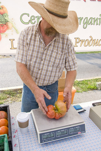 Lonnie weighing giant tomato (June 2012) | by Brookside Farmers' Market