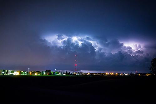 thunderstorm structure lightning strike night grand forks north dakota minnesota united states usa america summer