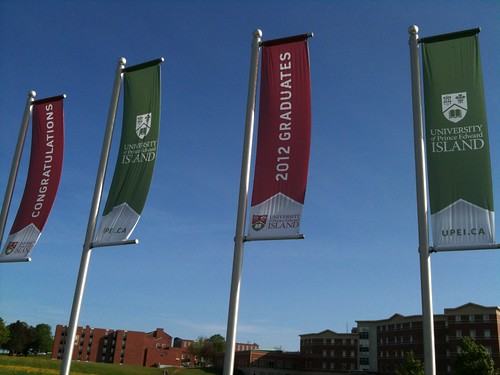 Banners on the corner of the UPEI campus.