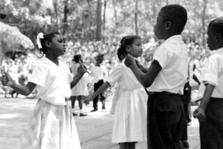 """Members of Carver School playing a game called """"zoodio zoodio"""" at the Florida Folk Festival: White Springs, Florida"""