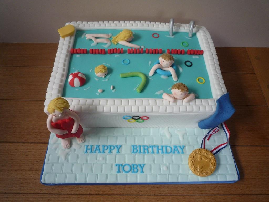 Peachy Swimming Pool Party Cake Jills Cakes Brighton Flickr Personalised Birthday Cards Vishlily Jamesorg