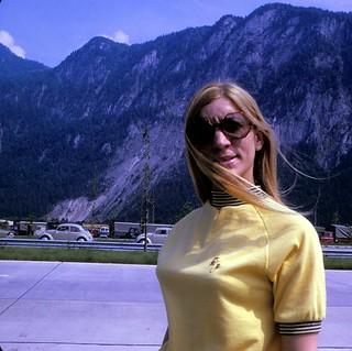 Border Crossing to Austria   Barbara looking puzzled    June 1970