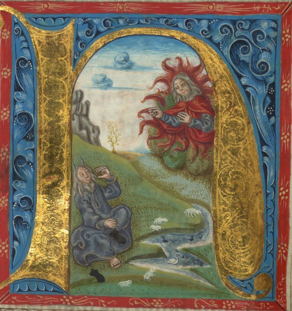 Illuminated Manuscript Bible Part Moses Before The Bur