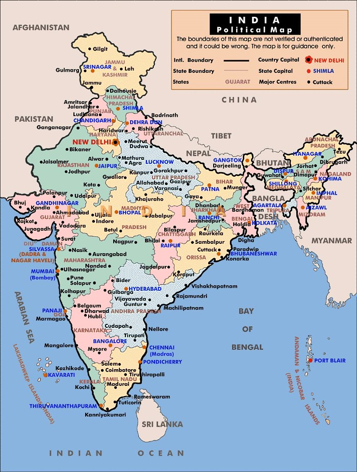 Political Map of India, 2012 | Contemporary map of India, sh ...