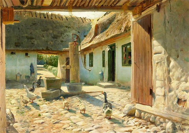Monsted, Peder Mork (1859-1941) - 1935 Geese on the Cobblestones in the Courtyard on a Summer Day