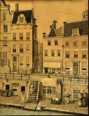 <p>Gezicht op de voorgevels van enkele huizen en de bijbehorende werven aan de Oudegracht te Utrecht en in het midden de Drieharingsteeg. N.B. De huizen hebben sinds 1917 de nummers 121 (links, gedeeltelijk) – 115 (rechts). De straatnaam Drieharingsteeg is later gewijzigd in Drieharingstraat. Pen in grijspenseel in kleur (waterverf). Coll. Het Utrechts Archief.</p>