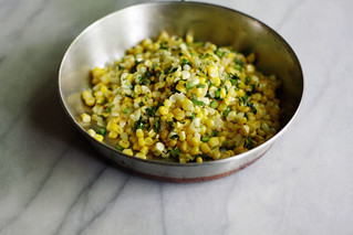 corn with scapes, chilies and cilantro   by seven spoons • tara