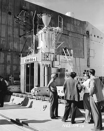 Bradbury in front of Kiwi B4-A reactor